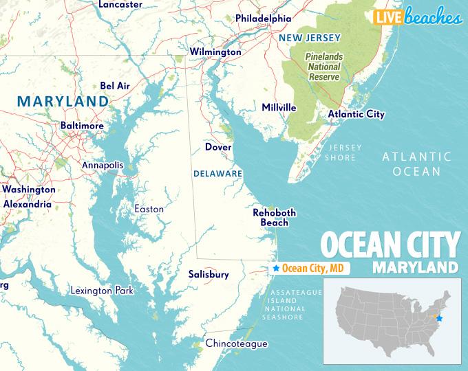 Ocean City Maryland State Map - LiveBeaches.com