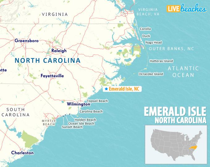 Emerald Isle Nc Map Map of Emerald Isle, North Carolina   Live Beaches