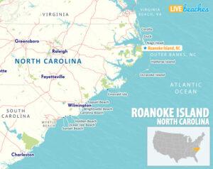 Roanoke Island NC Map, OBX Outer Banks - LiveBeaches.com