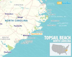 Topsail Beach NC Map - LiveBeaches.com