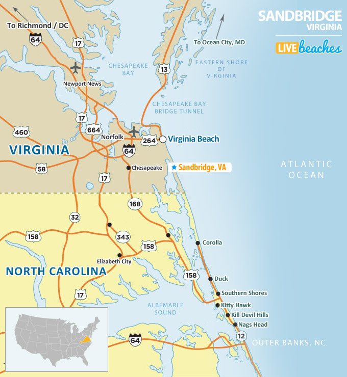 Sandbridge Beach, VA Map - LiveBeaches.com