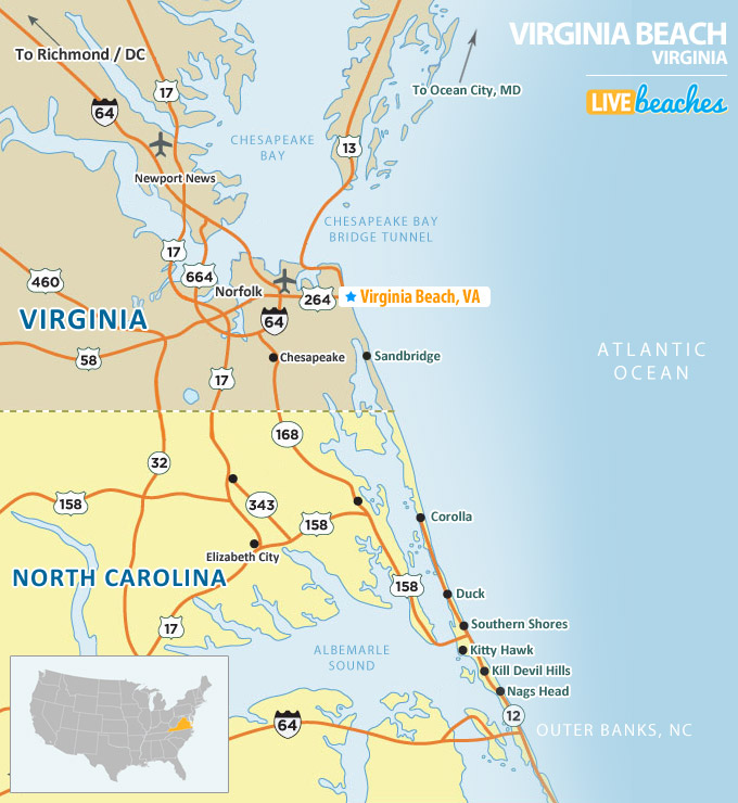Map Of Virginia Beach Map of Virginia Beach, Virginia   Live Beaches