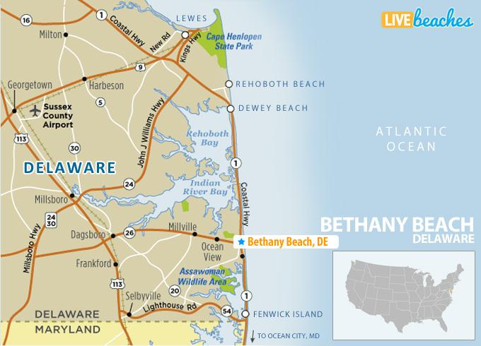 Map of Bethany Beach, Delaware