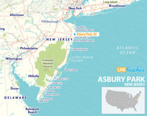 Asbury Park New Jersey Map - LiveBeaches.com