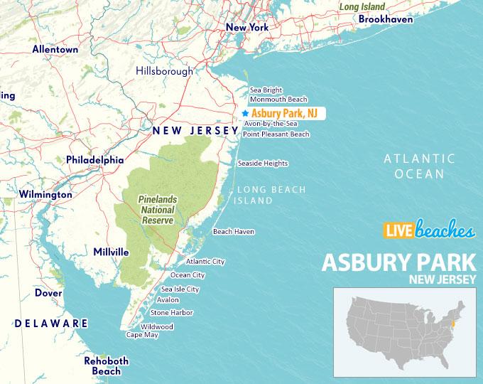 Asbury Park New Jersey Map - LiveBeaches.com