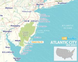 Atlantic City New Jersey Map - LiveBeaches.com