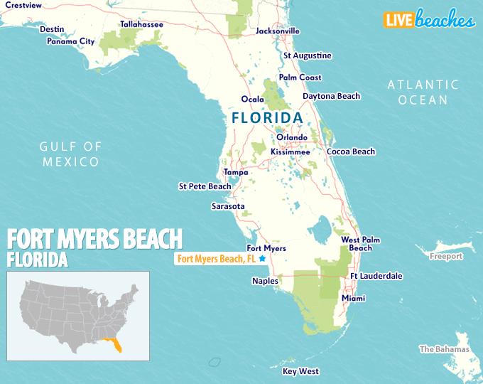 Map Fort Myers Beach, Florida - LiveBeaches.com