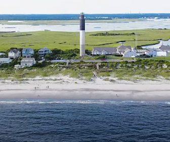 Oak Island, NC Aerial Tour in 4k, Lighthouse Beaches