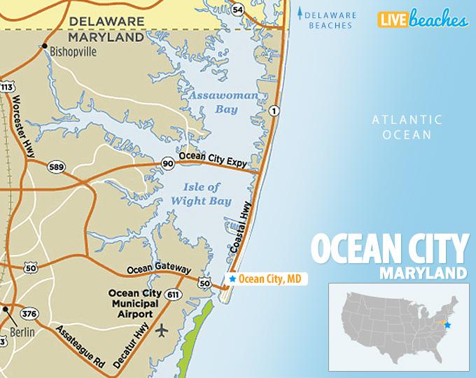 Map of Ocean City, MD - LiveBeaches.com