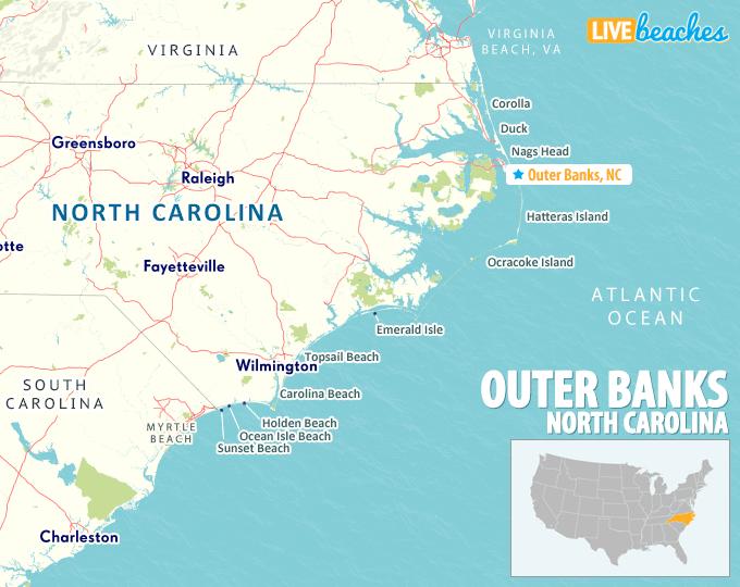 Outer Banks, NC Map - LiveBeaches.com
