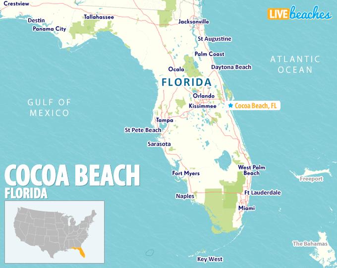 Map of Cocoa Beach, Florida - LiveBeaches.com