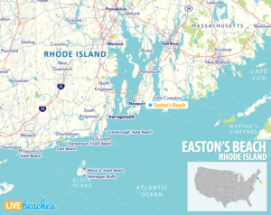 Map of Easton Beach, Rhode Island