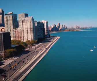 Ohio Street Beach, Chicago Aerial Tour in 4k