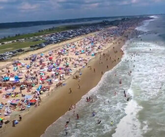 Aerial Flyover Drone Video, Misquamicut Beach in Westerly, Rhode Island