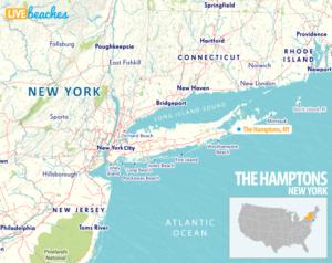 Map of The Hamptons, New York