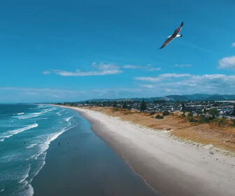 Drone Aerial Flyover Tour of Mount Maunganui New Zealand