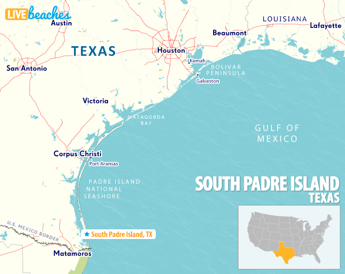 Map of South Padre Island, Texas - LiveBeaches.com